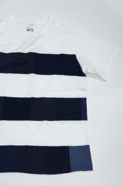 画像1: Yoused Play vintage Patchwork Border Tee(White×Navy)