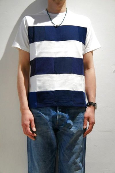 画像4: Yoused Play vintage Patchwork Border Tee(White×Navy)