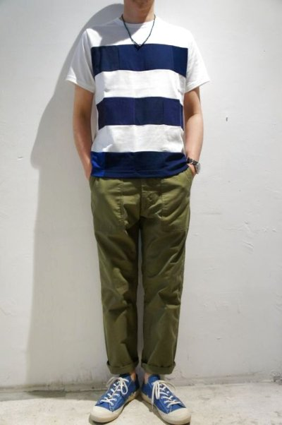画像3: Yoused Play vintage Patchwork Border Tee(White×Navy)