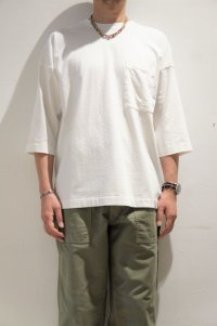 BETTER AMERICAN COTTON 3/4 SLEEVE CREW NECK T-SHIRT(OFF WHITE)