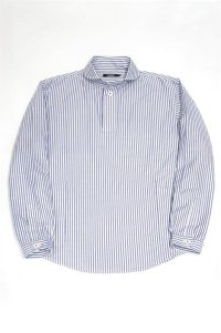 LOLO OX STRIPE ROUND COLLAR PULL OVER SHIRT(NAVY)