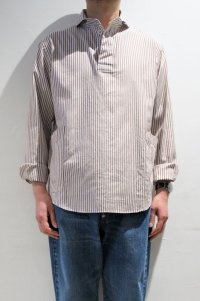 LOLO OX STRIPE ROUND COLLAR PULL OVER SHIRT(BROWN)
