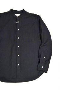 MANUAL ALPHABET SUPIMA PREMIUM OX BASIC BAND COLLAR SHIRT / Bulging Fit(BLACK)